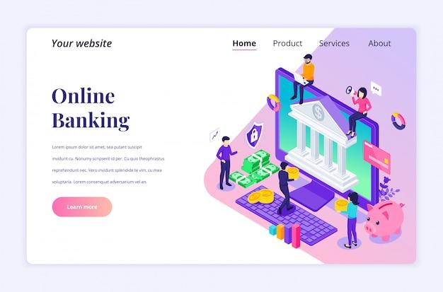 Concetto di attività bancarie online con personaggi. investimento finanziario online. piatto moderno isometrico per modello di pagina di destinazione