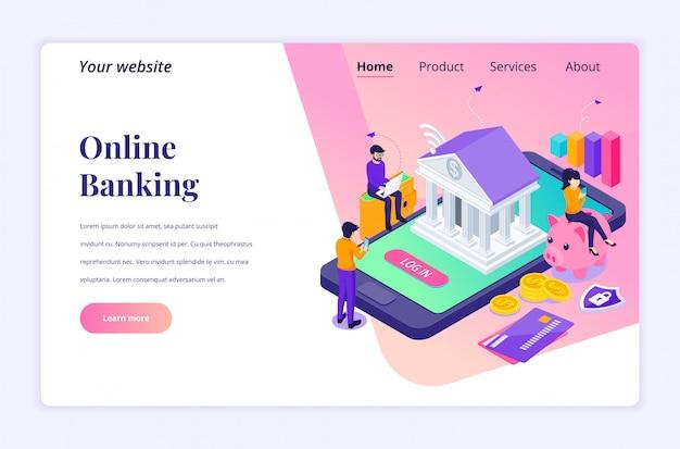 Concetto di attività bancarie online con personaggi. pagamento elettronico. piatto moderno isometrico per modello di pagina di destinazione