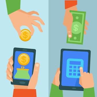 Concetto di attività bancarie online di vettore