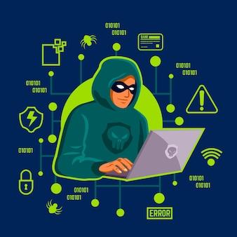 Concetto di attività del pirata informatico con l'illustrazione dell'uomo