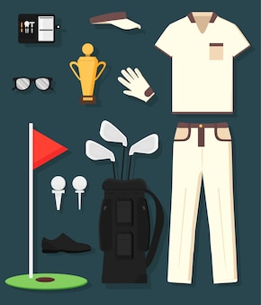 Concetto di attrezzatura da golf dettagliata e abbigliamento: trofeo, borsa, club, palla, bandiera, berretto, guanti, camicia, scarpe, padelle. lo sport dell'uomo.