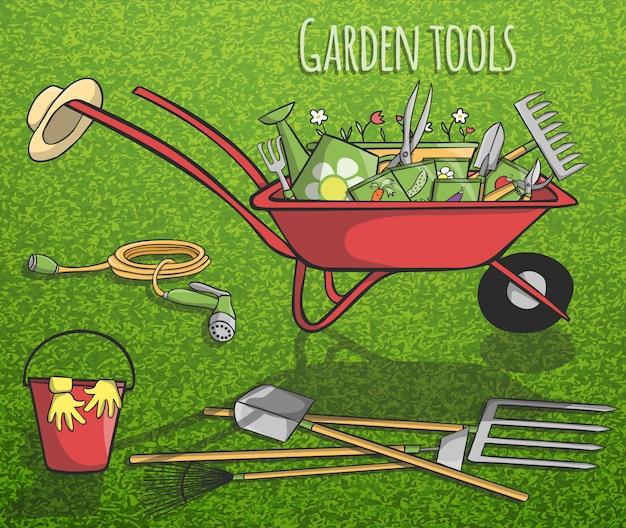 Concetto di attrezzi da giardino