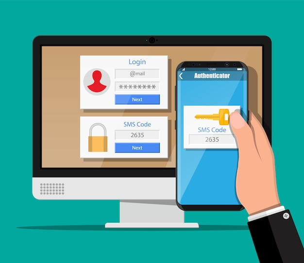 Concetto di autenticazione in due passaggi. monitor del computer con login in account e mano con smartphone con app sms. verifica del duo per telefono e approvazione. illustrazione vettoriale in stile piatto