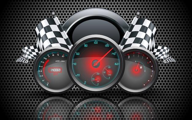 Concetto di auto da corsa calibro del tachimetro