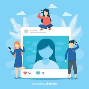 Concetto di auto foto con applicazione sociale