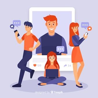 Concetto di auto foto social media