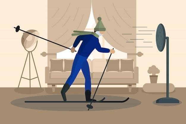 Concetto di auto-quarantena. uomo mascherato su sci a casa durante lo scoppio del virus covid-19. . illustrazione piatta.