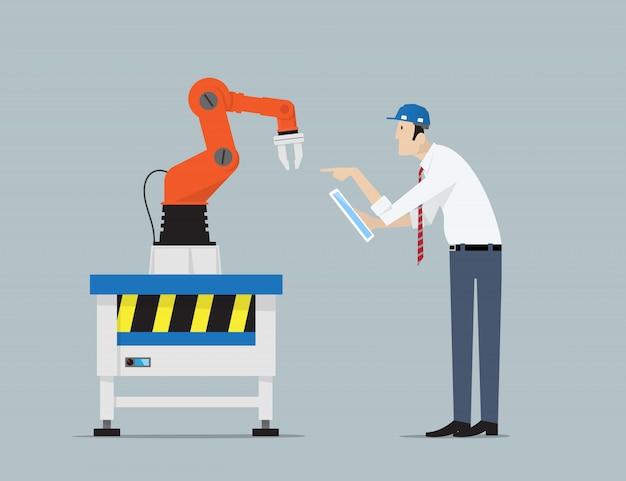 Concetto di automazione di fabbrica.