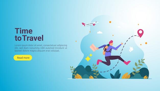 Concetto di avventura viaggio zaino in spalla. tema vacanza all'aperto di escursionismo, arrampicata e trekking