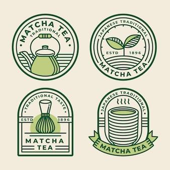 Concetto di badge tè matcha