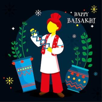 Concetto di baisakhi felice piano con saluto
