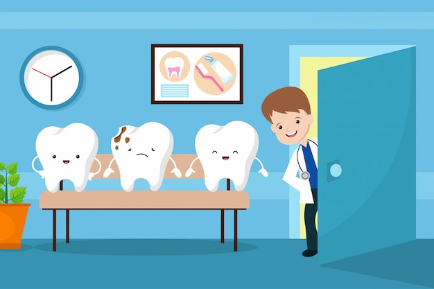 Concetto di bambini vettore bocca sano. denti nella sala d'aspetto del dentista