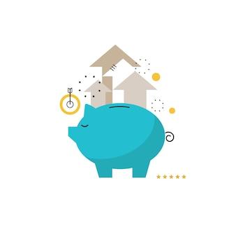 Concetto di banca piggy, investimento finanziario, gestione del bilancio, conto di risparmio, deposito, fondi pensione fondo, pianificazione finanziaria illustrazione vettoriale piatto disegno per la fotocamera mobile e web