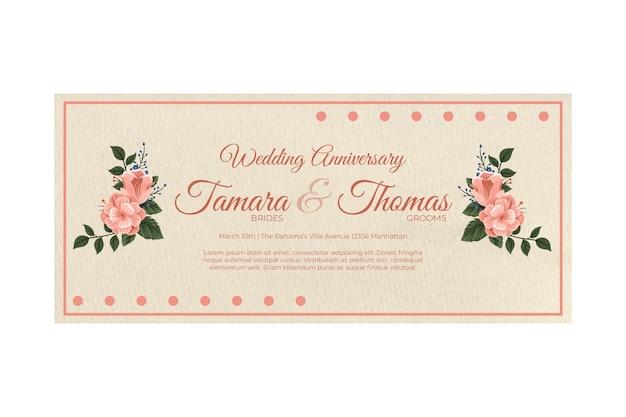 Concetto di banner anniversario di matrimonio
