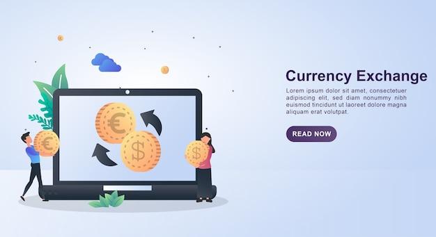 Concetto di banner di cambio valuta con persone che trasportano denaro in cambio.