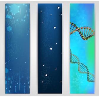 Concetto di banner di dna e molecola