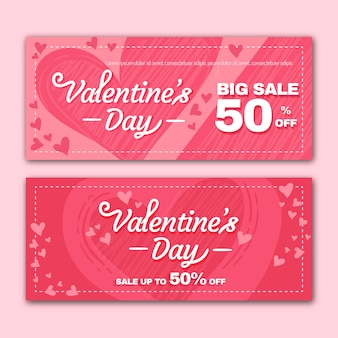 Concetto di banner di vendita di san valentino design piatto