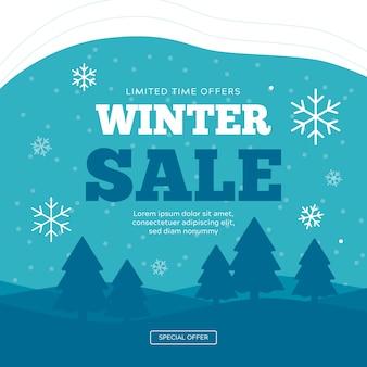 Concetto di banner di vendita inverno design piatto