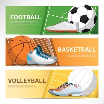 Concetto di banner sportivo. calcio, campo da basket