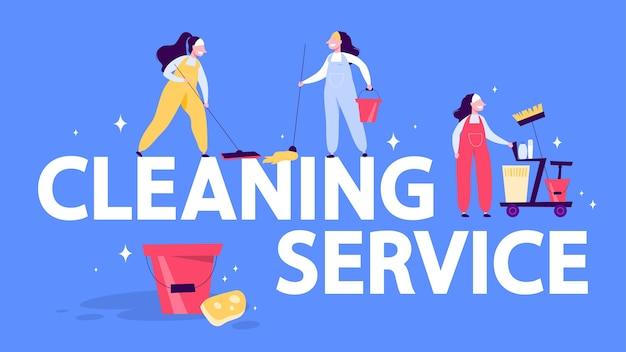 Concetto di banner web servizio di pulizia. donna con mop