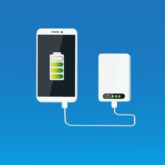 Concetto di batteria mobile portatile di carico dello smart phone della banca di potere