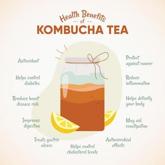 Concetto di benefici del tè kombucha