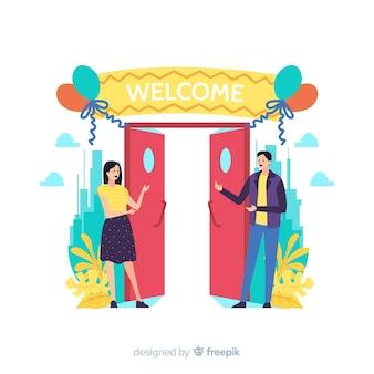 Concetto di benvenuto per landing page
