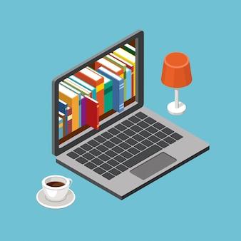 Concetto di biblioteca online, computer portatile con scaffali