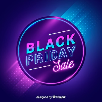 Concetto di black friday con design al neon