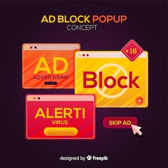 Concetto di blocco di annunci raccolta banner pop-up