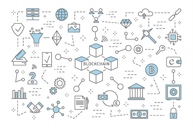 Concetto di blockchain. moderna tecnologia digitale. transazioni finanziarie sicure. criptovaluta e bitcoin. set di blockchain e icone bancarie. illustrazione al tratto