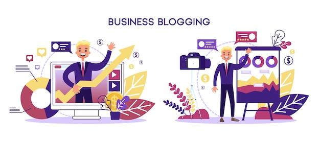 Concetto di blog aziendale. uomo d'affari in tuta