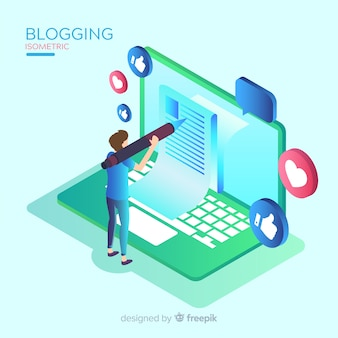 Concetto di blogging isometrica