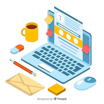 Concetto di blogging isometrica