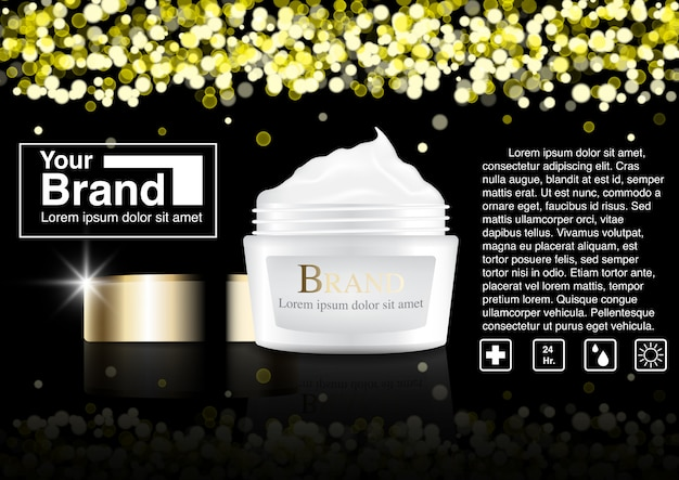 Concetto di bokeh annuncio cosmetico