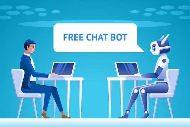Concetto di bot di chat gratuito.