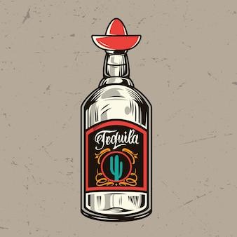 Concetto di bottiglia di tequila vintage