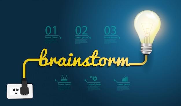 Concetto di brainstorming creativo con l'idea della lampadina