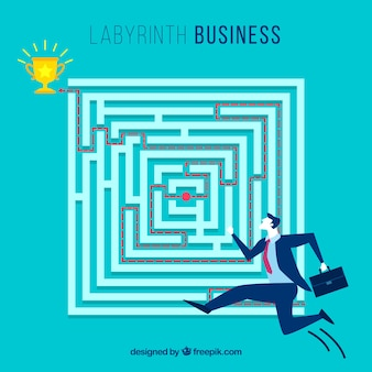 Concetto di business con labirinto piatto