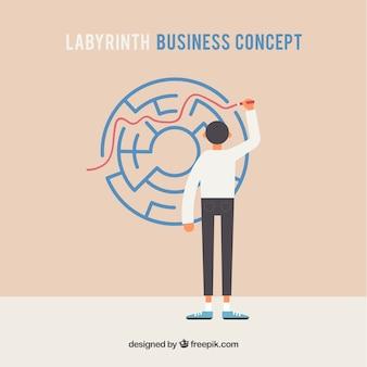 Concetto di business con labirinto piatto