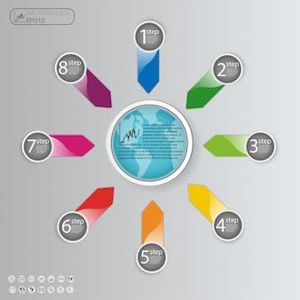 Concetto di business con opzioni, parti, passaggi o processi. modello grafico informazioni.