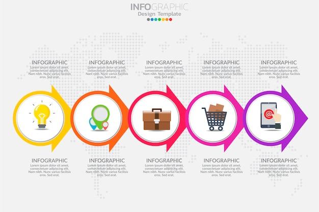 Concetto di business con opzioni, passaggi o processi. modello di infografica
