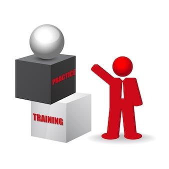 Concetto di business con parole di formazione e pratica