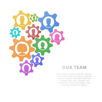 Concetto di business del lavoro di squadra con ingranaggi. design. illustrazione vettoriale stile piano