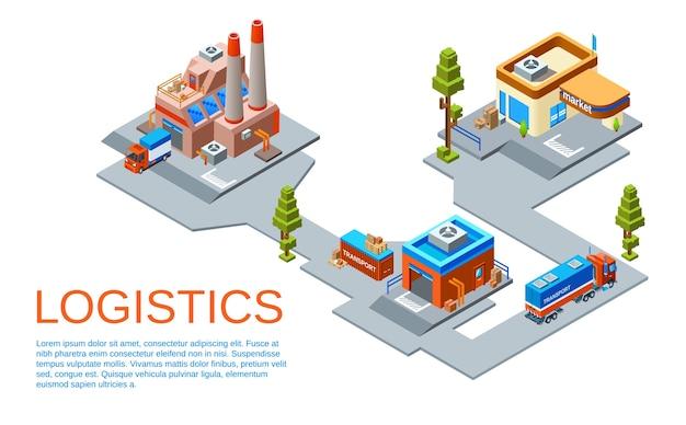 Concetto di business della logistica e dei trasporti. percorso dall'impianto di produzione di merci