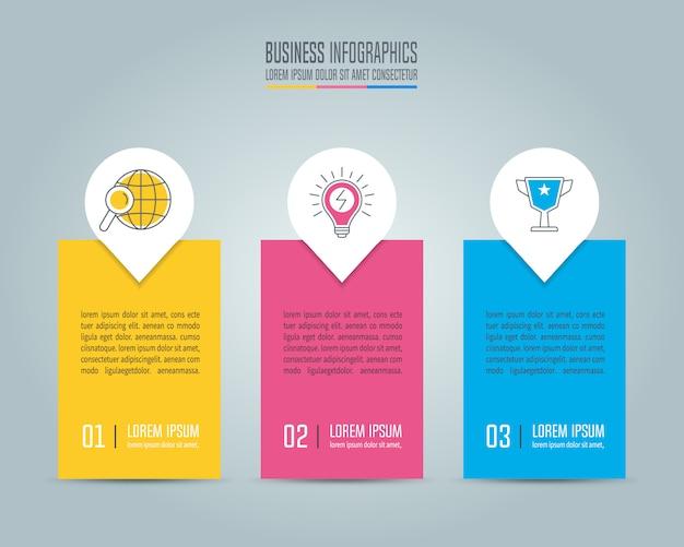 Concetto di business design infografica con 3 opzioni, parti o processi.