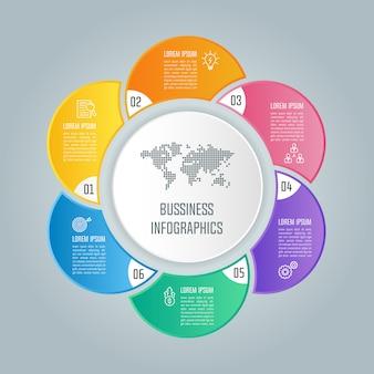 Concetto di business design infografica con 6 opzioni, parti o processi.