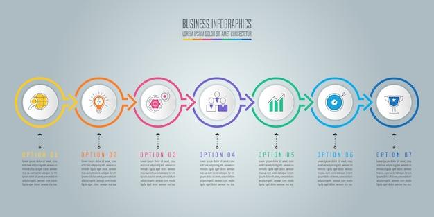 Concetto di business design infografica con 7 opzioni, parti o processi.