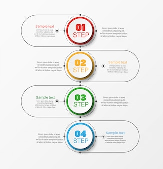 Concetto di business infografica con 4 passaggi