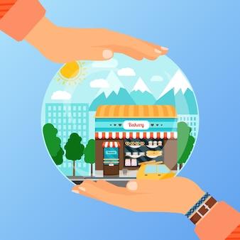 Concetto di business per l'apertura di un negozio di panetteria